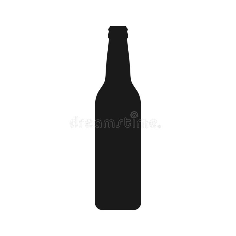 Icono negro gráfico de la botella de cerveza aislado en el fondo blanco stock de ilustración