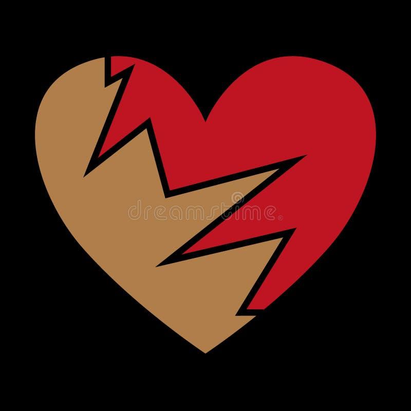 Icono negro quebrado del corazón, ejemplo de la angustia ilustración del vector