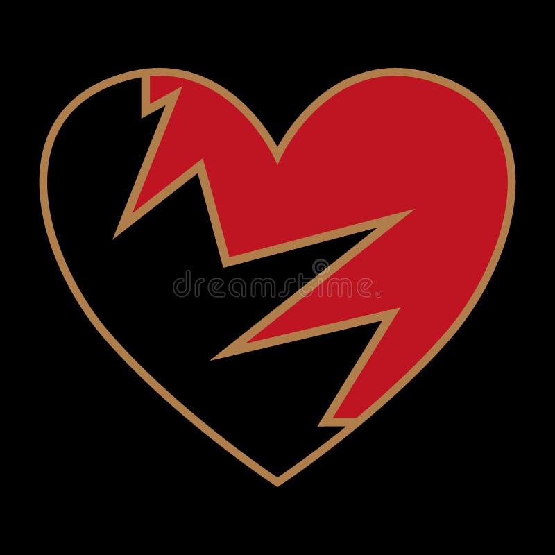 Icono negro quebrado del corazón, ejemplo de la angustia stock de ilustración