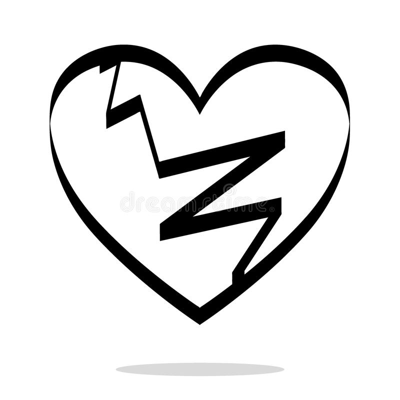 Icono negro quebrado del corazón, ejemplo de la angustia libre illustration