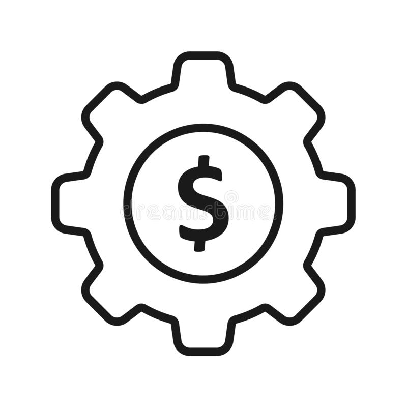 Icono negro sólido del dólar del engranaje ilustración del vector