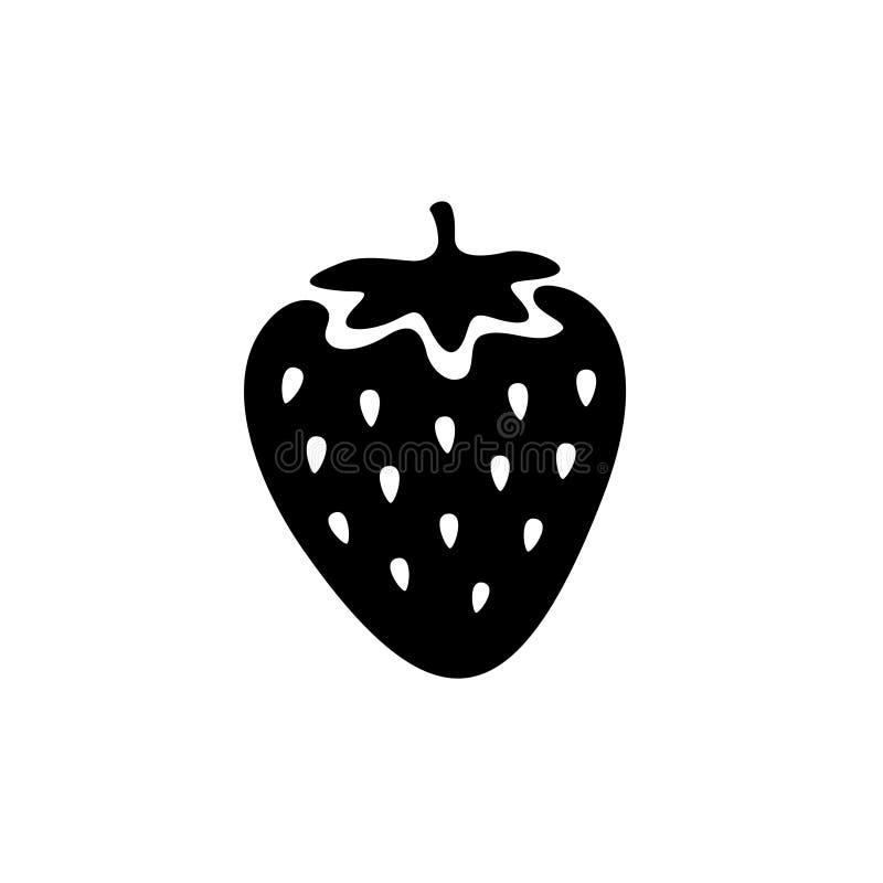 Icono negro simple de la fresa stock de ilustración