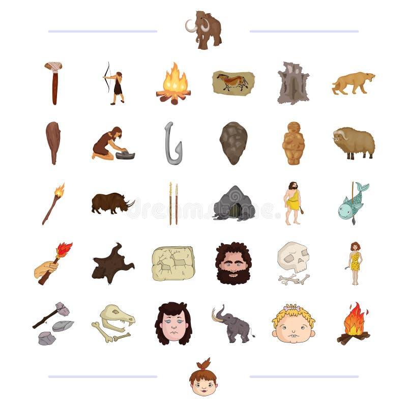 Icono neolítico, prehistórico, de búsqueda y otro del web en estilo negro stock de ilustración