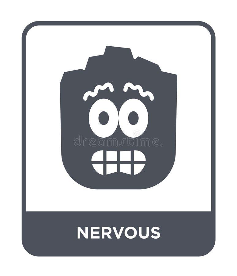 icono nervioso en estilo de moda del diseño Icono nervioso aislado en el fondo blanco símbolo plano simple y moderno del icono ne stock de ilustración