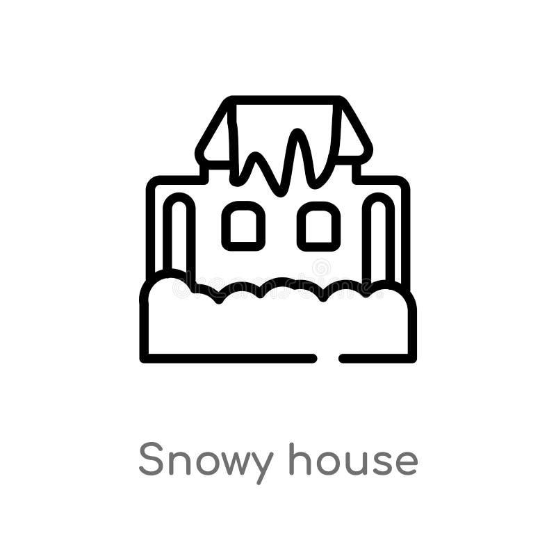 icono nevoso del vector de la casa del esquema línea simple negra aislada ejemplo del elemento del concepto de la meteorología Mo libre illustration