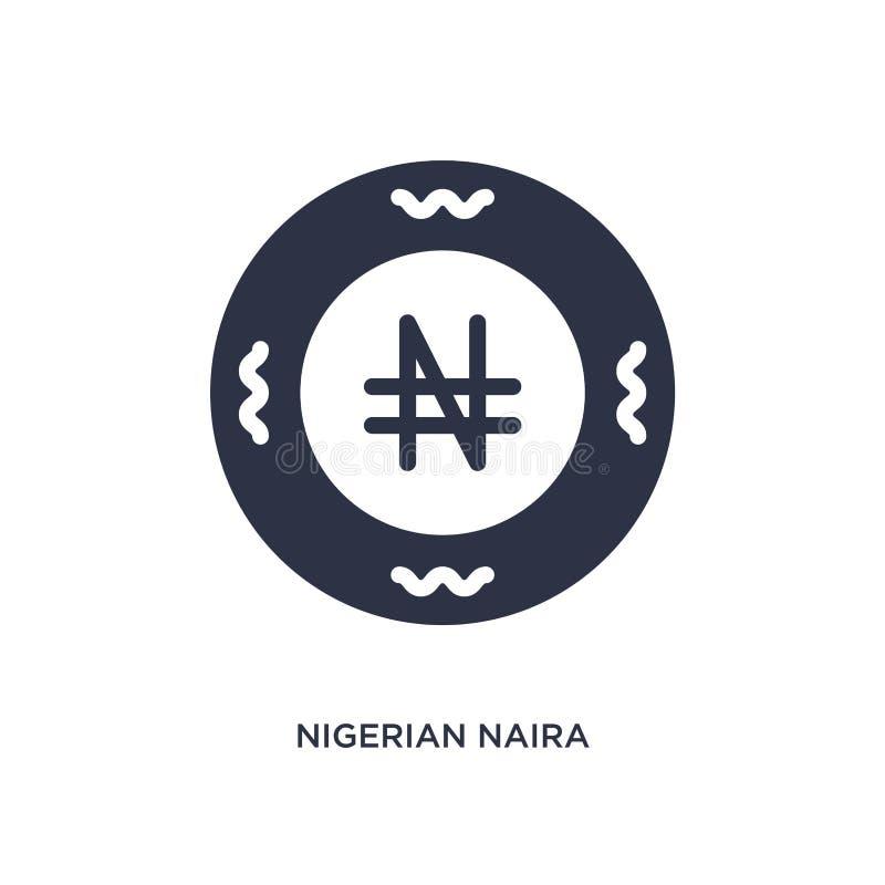 icono nigeriano del naira en el fondo blanco Ejemplo simple del elemento del concepto de África ilustración del vector