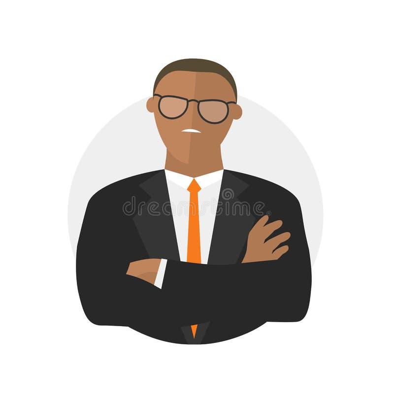 Icono no satisfecho negro del vector del hombre de negocios ilustración del vector