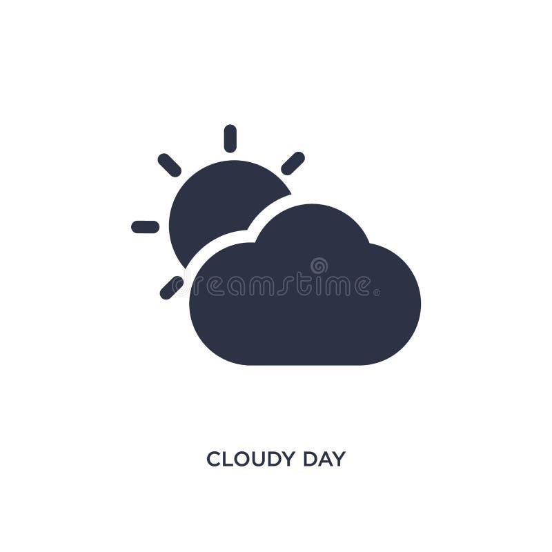 icono nublado del día en el fondo blanco Ejemplo simple del elemento del concepto del terminal de aeropuerto ilustración del vector