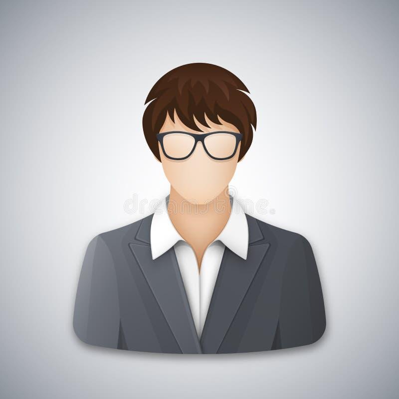Icono o avatar de una mujer de negocios o de un oficinista en vidrios stock de ilustración