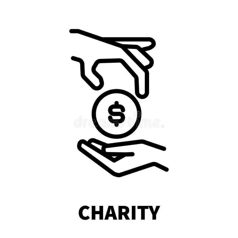 Icono o logotipo de la caridad en la línea estilo moderna stock de ilustración