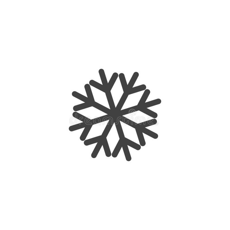 Icono o logotipo del copo de nieve Símbolo del tema de la Navidad y del invierno Vector y ejemplo vector del icono de Navidad ilustración del vector