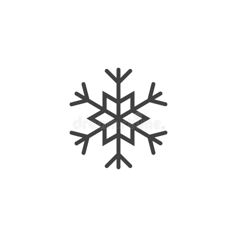 Icono o logotipo del copo de nieve Símbolo del tema de la Navidad y del invierno Vector y ejemplo vector del icono de Navidad libre illustration