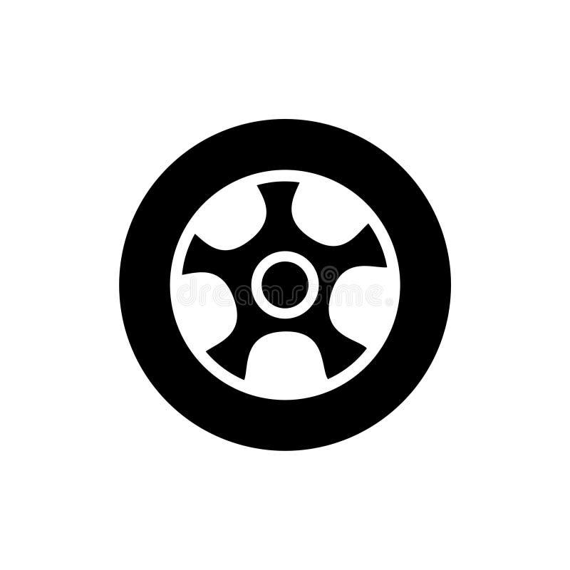 Icono o logotipo del extracto de la rueda de coche ilustración del vector