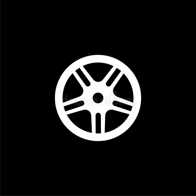 Icono o logotipo del neumático del coche, del vehículo o de automóvil en fondo oscuro stock de ilustración