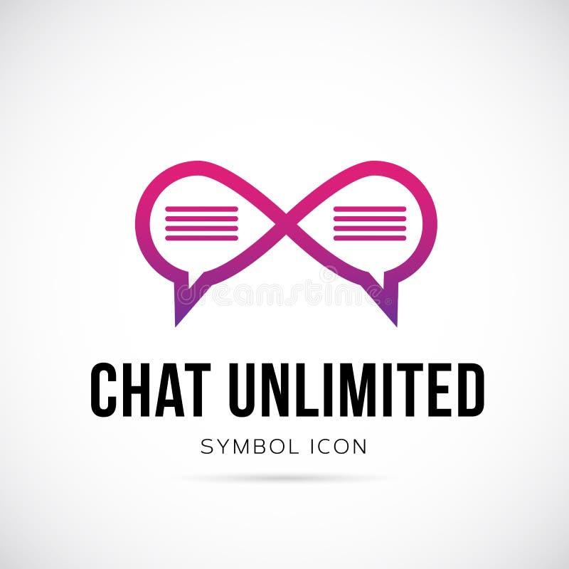 Icono o logotipo ilimitado del símbolo del concepto del vector de la charla stock de ilustración