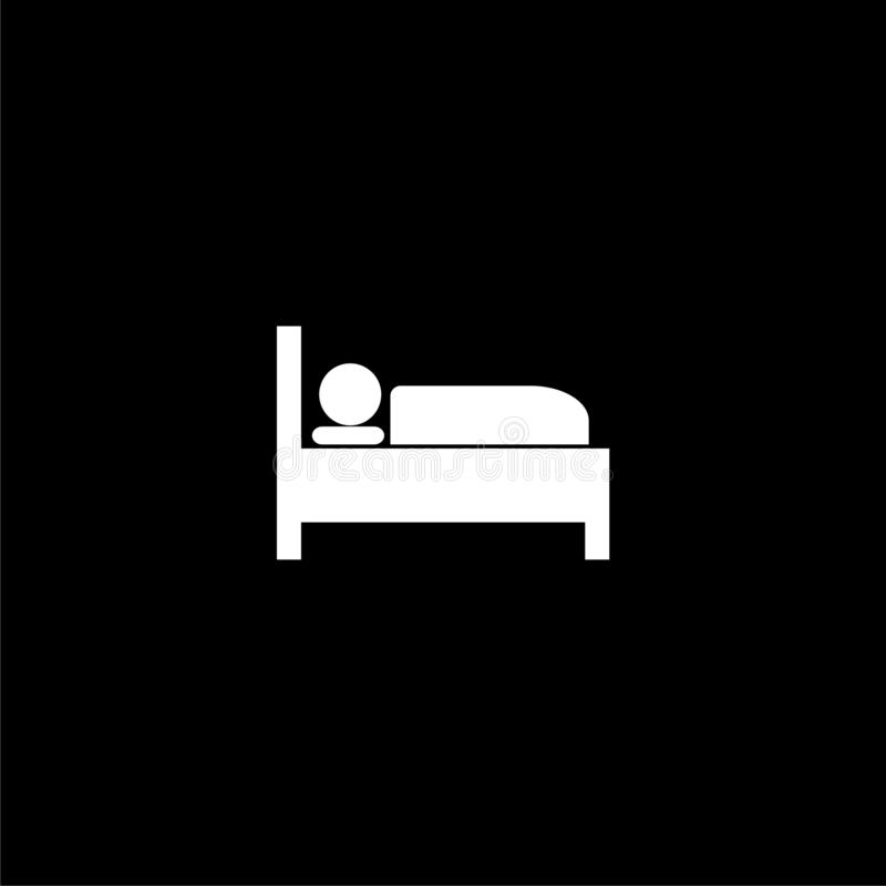 Icono o logotipo, motel de la cama de hospital del hotel de la noche del sueño del símbolo del icono de la cama en fondo oscuro stock de ilustración