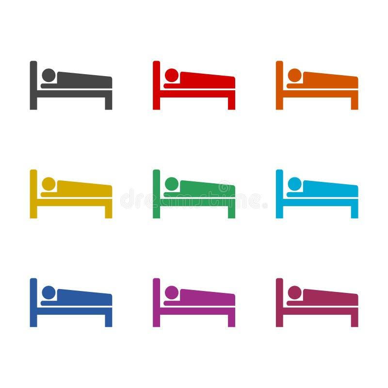 Icono o logotipo, motel del hotel de la noche del sueño del símbolo del icono de la cama, sistema de la cama de hospital de color stock de ilustración