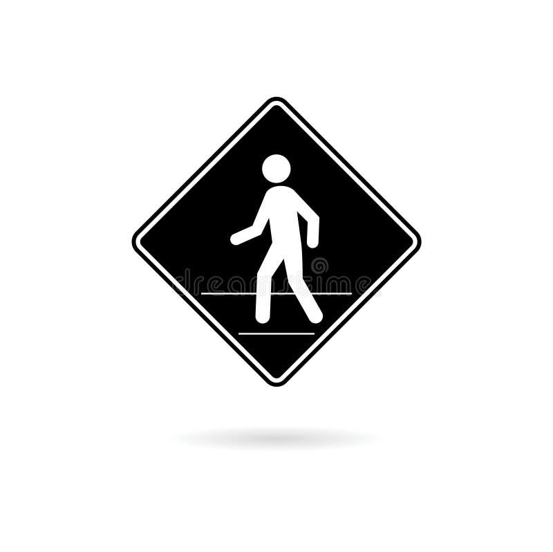 Icono o logotipo negro de la señal de tráfico peatonal aislado en el fondo blanco stock de ilustración