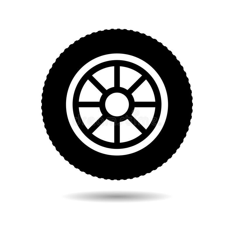 Icono o logotipo negro del neumático del coche, del vehículo o de automóvil libre illustration