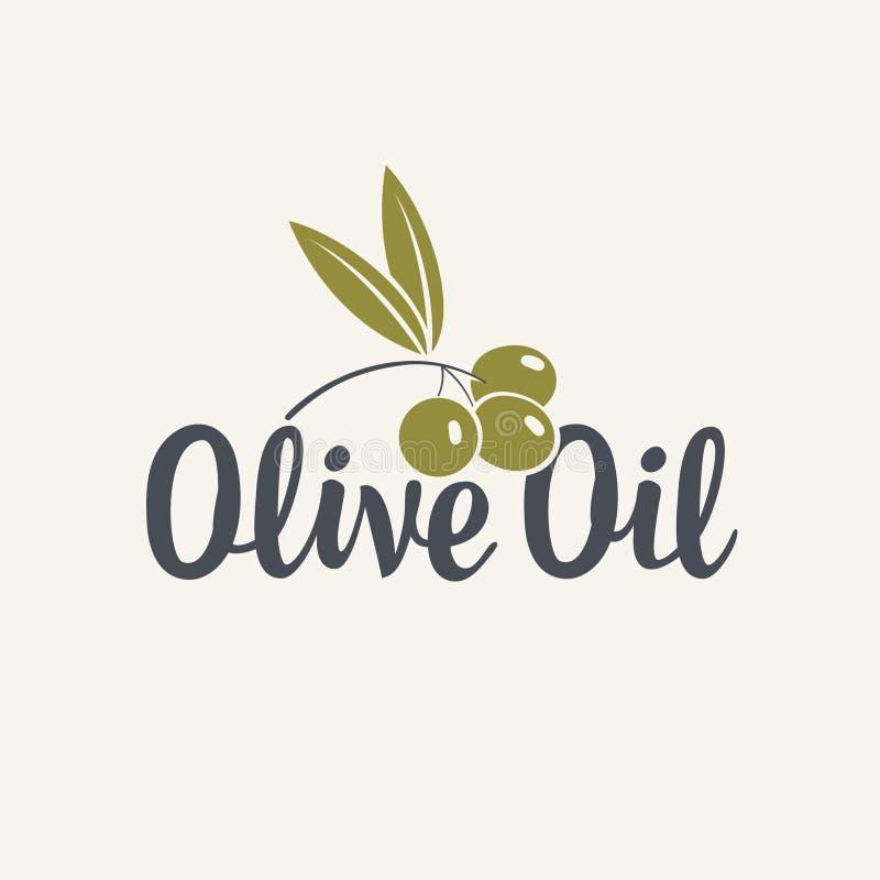 Icono o logotipo para el aceite de oliva con la rama de olivo ilustración del vector
