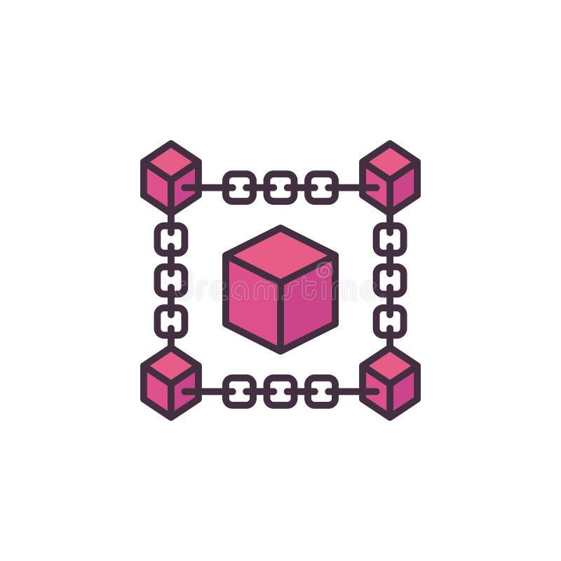 Icono o logotipo rojo crypto del vector de la tecnología de Blockchain libre illustration