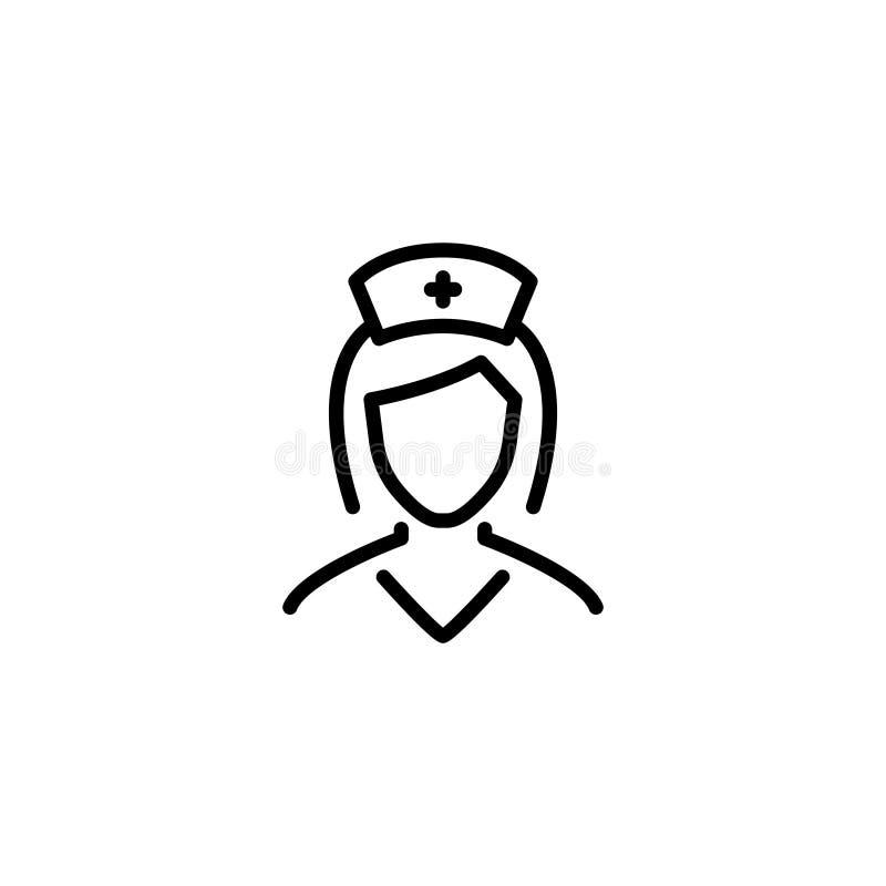 Icono o logotipo superior de la enfermera en la línea estilo libre illustration
