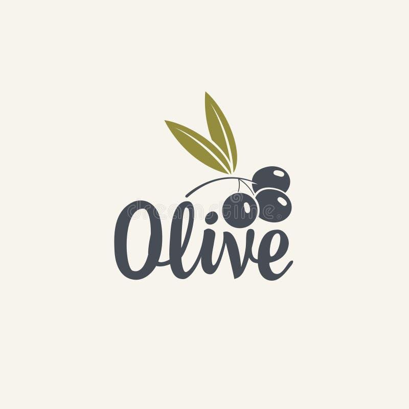 Icono o logotipo verde oliva para las aceitunas o el aceite fresco libre illustration
