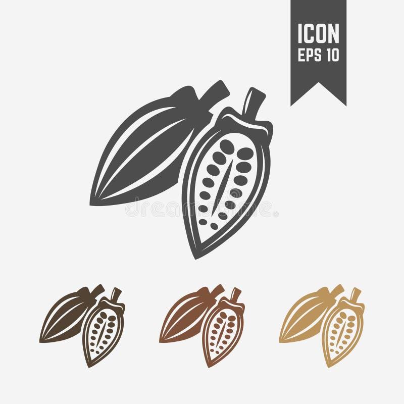 Icono o muestra aislado vaina del vector del cacao libre illustration