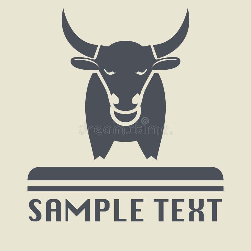 Icono o muestra de Bull ilustración del vector