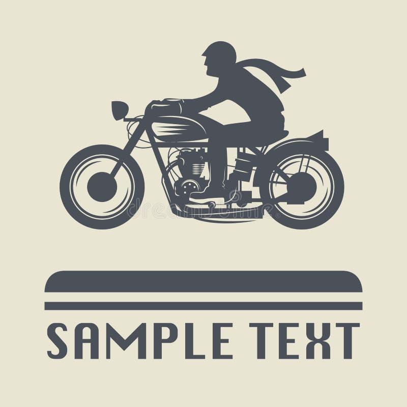Icono o muestra de la motocicleta ilustración del vector