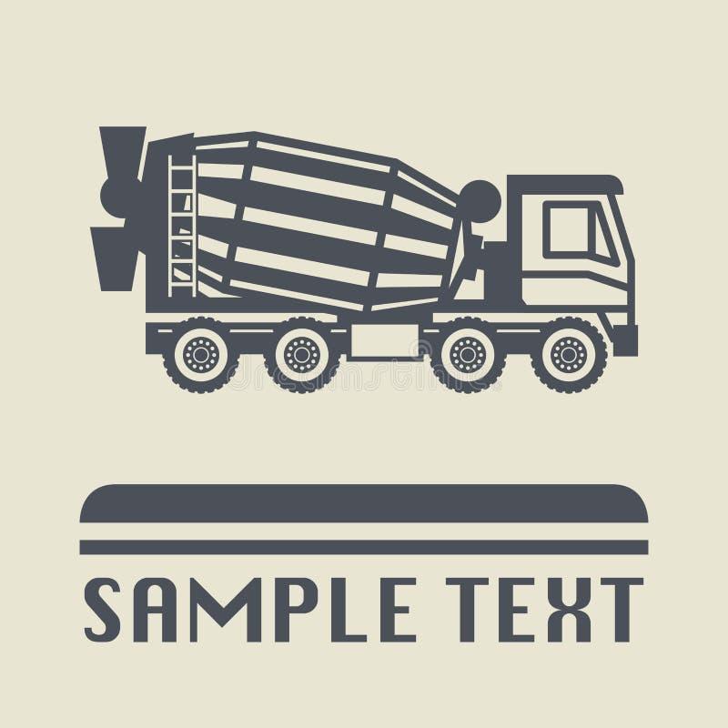 Icono o muestra del camión del mezclador concreto stock de ilustración