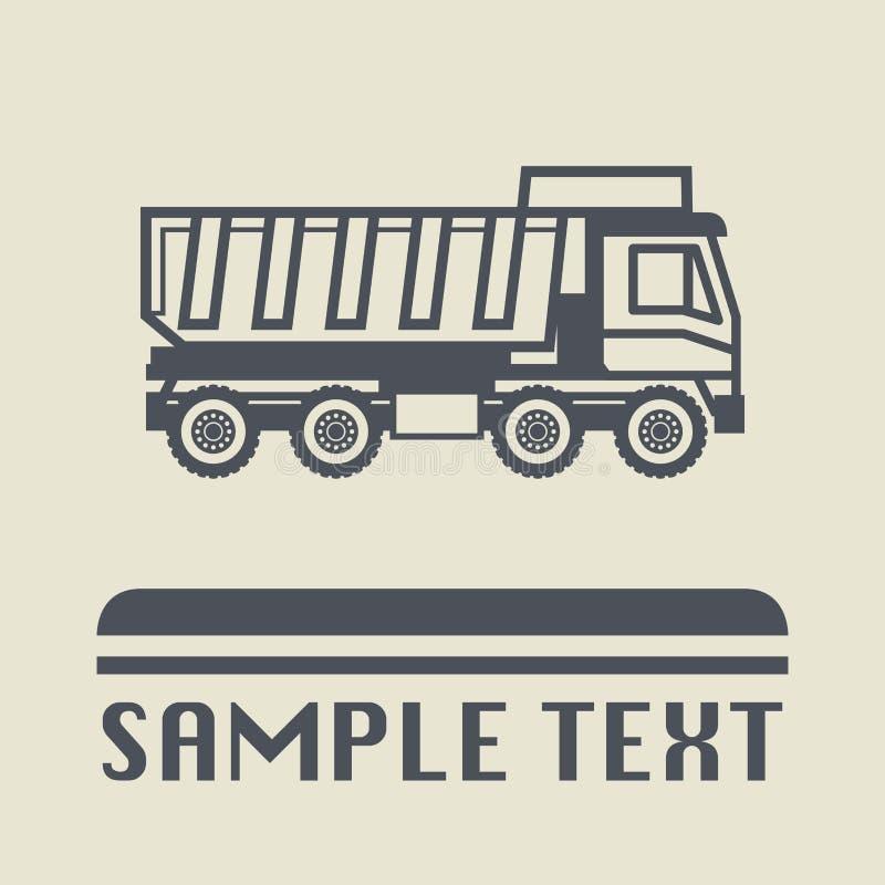 Icono o muestra del camión volquete stock de ilustración