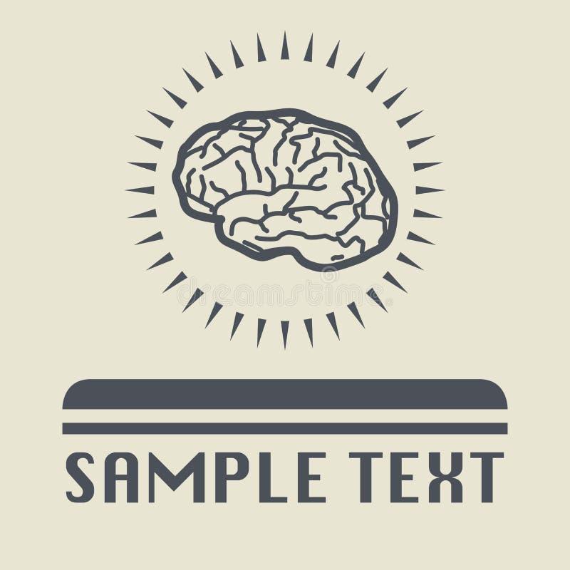 Icono o muestra del cerebro stock de ilustración