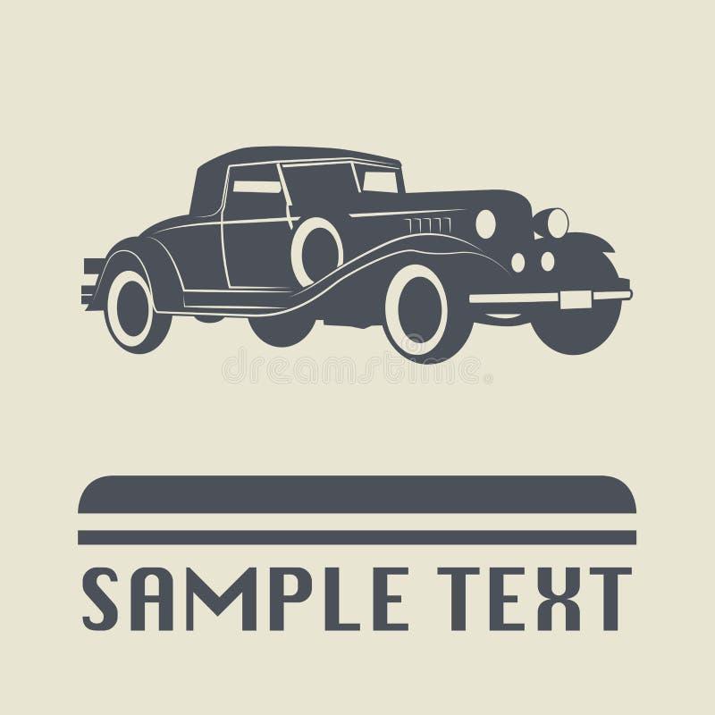 Icono o muestra del coche del vintage ilustración del vector