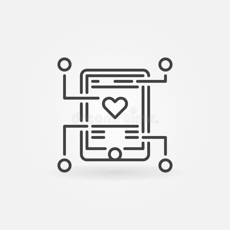 Icono o muestra móvil del esquema del vector del desarrollo del app stock de ilustración