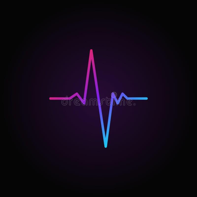 Icono o símbolo mínimo colorido del vector del pulso en estilo del esquema ilustración del vector