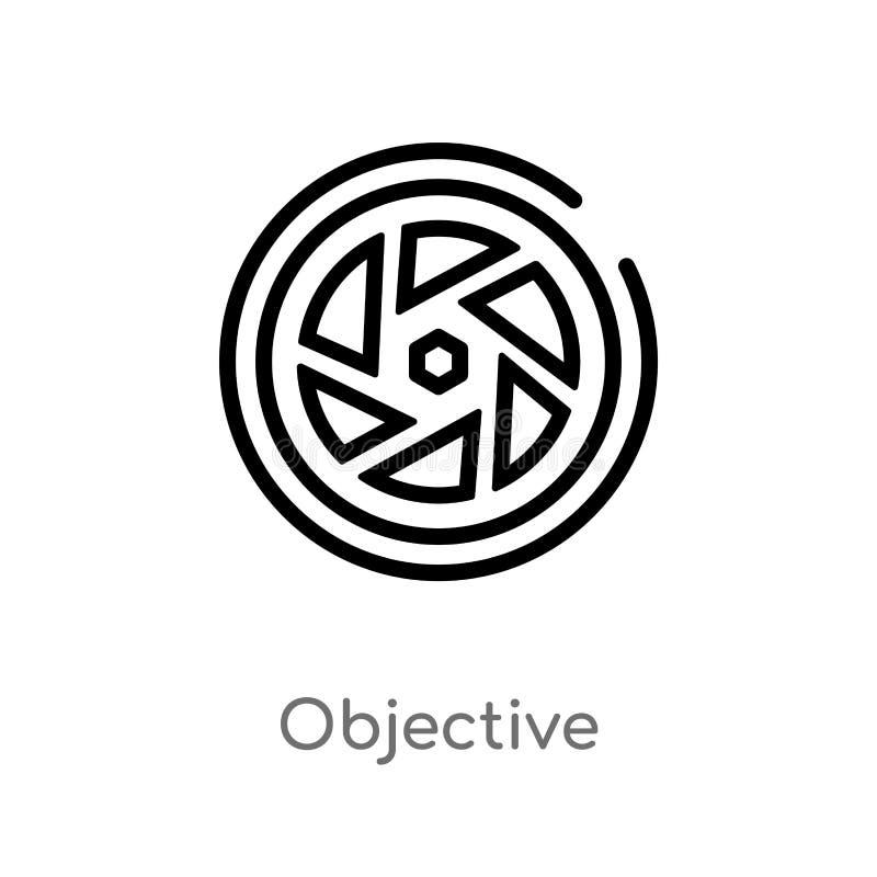 icono objetivo del vector del esquema línea simple negra aislada ejemplo del elemento del concepto electrónico del terraplén de l ilustración del vector