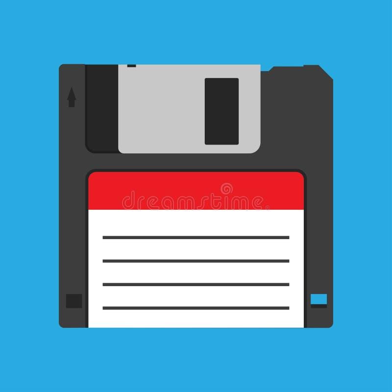 Icono obsoleto negro del vector del dispositivo de reserva del vintage del disco blando del disquete Dato cuadrado magn?tico de l libre illustration