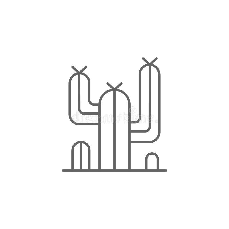 icono occidental del esquema del desierto del cactus Elementos del icono del ejemplo del Día de la Independencia Las muestras y l libre illustration