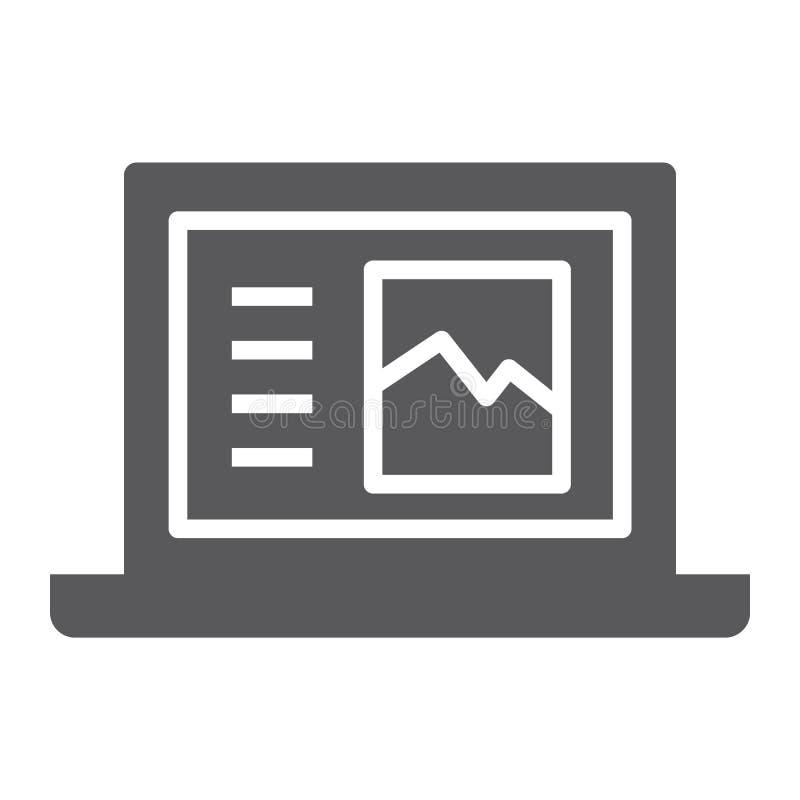 Icono, ordenador y digital del glyph del ordenador portátil, muestra del cuaderno, gráficos de vector, un modelo sólido en un fon stock de ilustración