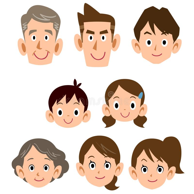 Icono ordinario de la expresión de la familia de tres generaciones libre illustration