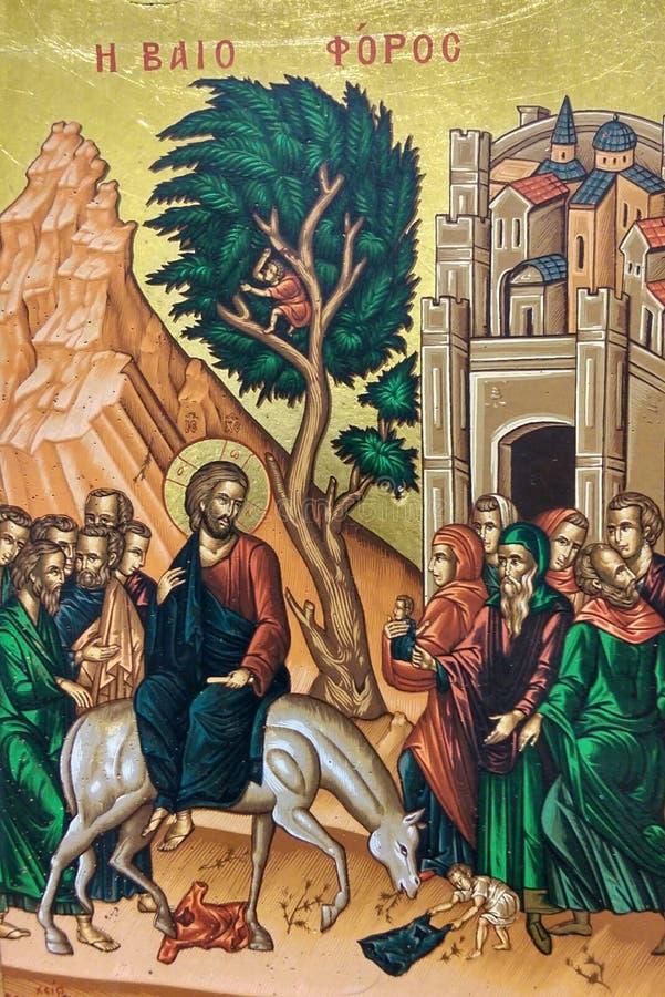 Icono ortodoxo griego de Jesus Christ fotos de archivo