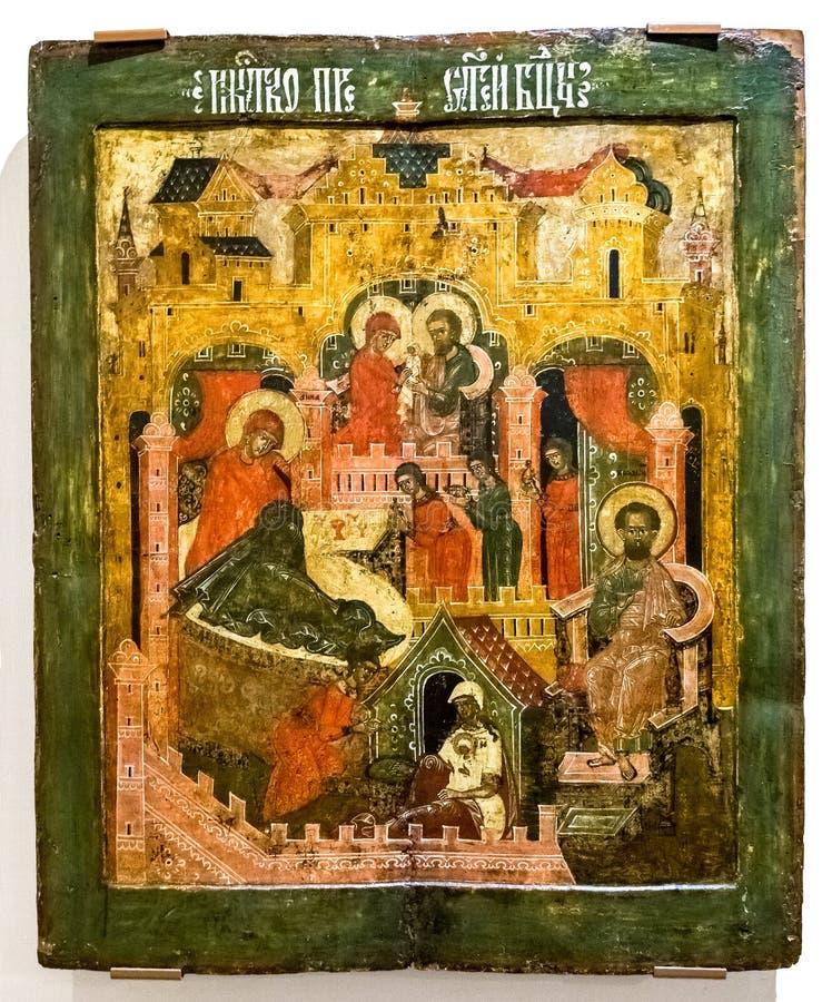 Icono ortodoxo ruso antiguo de la natividad de la Virgen fotografía de archivo libre de regalías