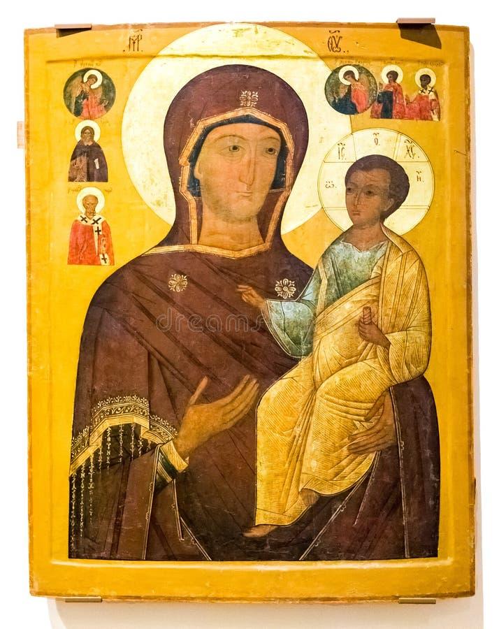 Icono ortodoxo ruso antiguo La madre de dios Hodegetria, 19t imagen de archivo