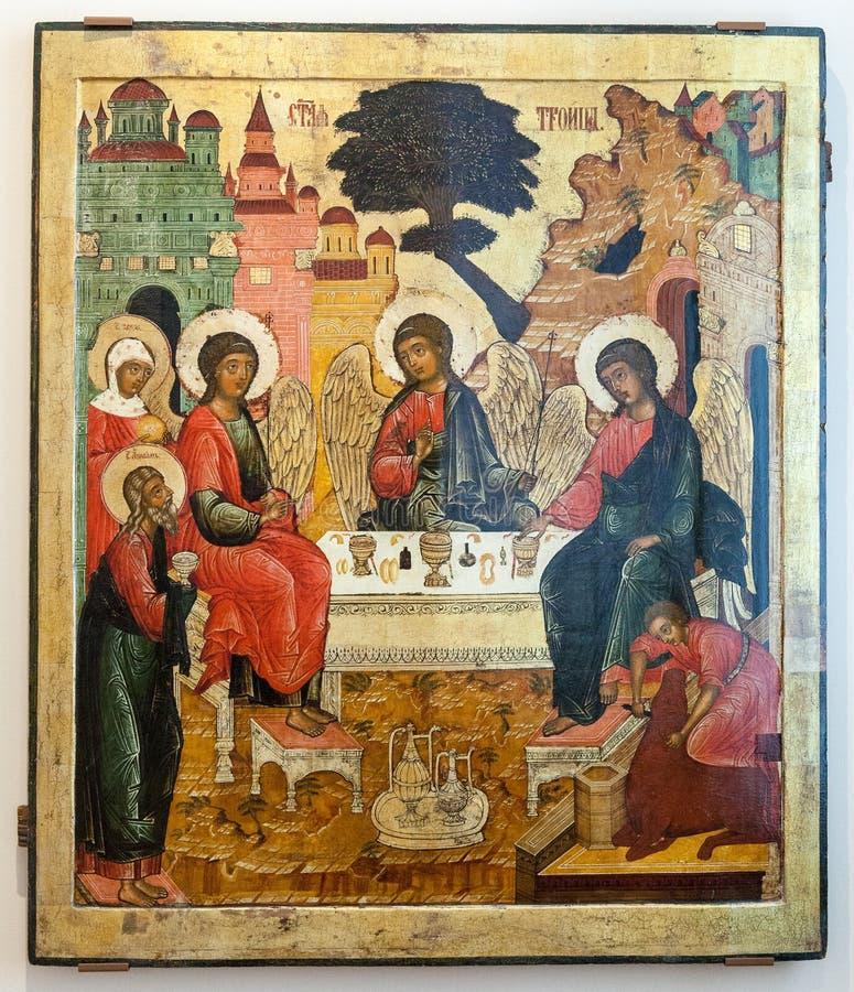 Icono ortodoxo ruso antiguo la trinidad del viejo testamento foto de archivo libre de regalías