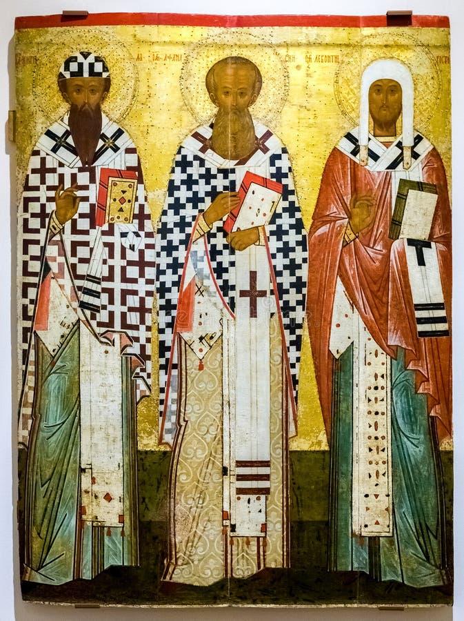 Icono ortodoxo ruso antiguo Los santos Cyril y Athanasius o fotografía de archivo