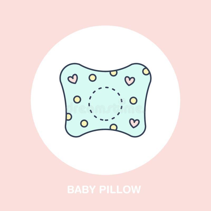 Icono ortopédico de la almohada del bebé, línea logotipo Muestra plana para dormir sano ergonómico ilustración del vector
