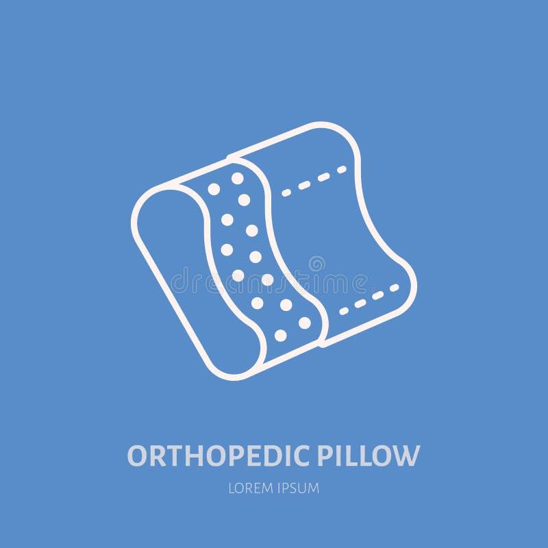 Icono ortopédico de la almohada, línea logotipo Muestra plana para dormir sano ergonómico libre illustration