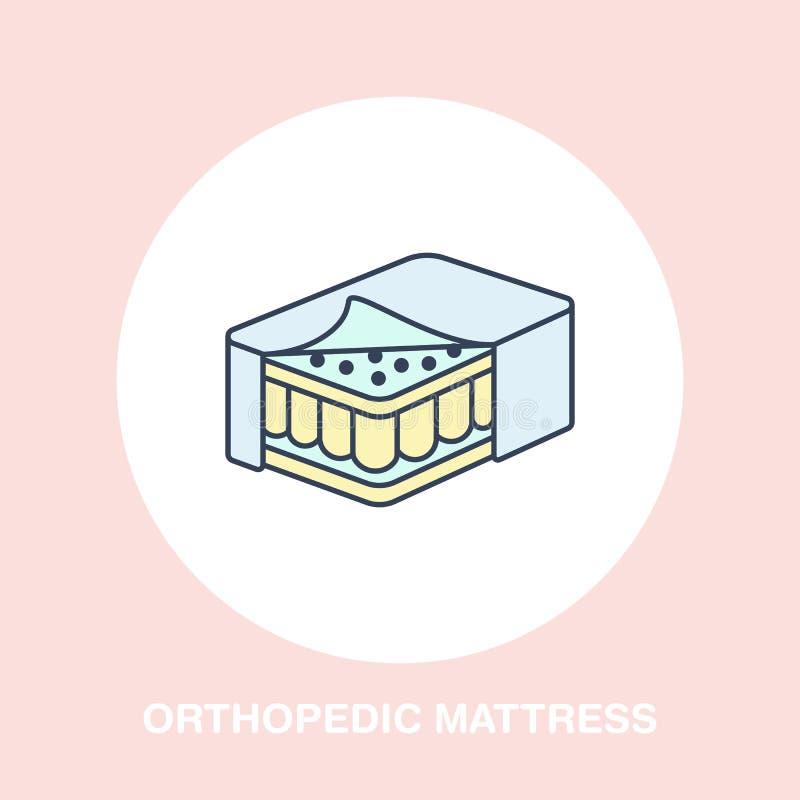 Icono ortopédico del colchón, línea logotipo Muestra plana para dormir sano ergonómico libre illustration