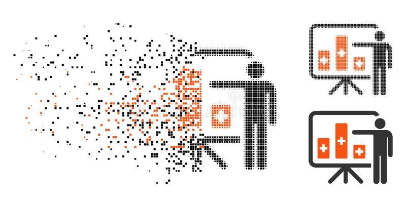 Icono público médico de semitono fracturado del informe de Pixelated ilustración del vector
